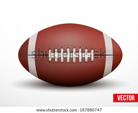 American Football ball isolated on a white background. Realistic Vector Illustration. Rugby sport. - stock vector