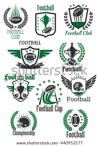 American football balls and helmets, trophy cups and gate symbols for sporting club, team and championship design framed by winged and crowned shields, heraldic wreaths and ribbon banners with stars - stock vector