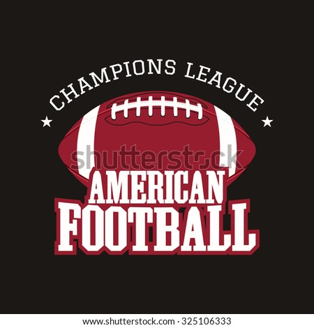 American football champions league badge, logo, label, insignia in retro color style. Graphic vintage design for t-shirt, web. Colorful print isolated on a dark background. Vector illustration - stock vector