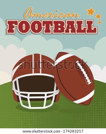 american football design over sky  background vector illustration  - stock vector