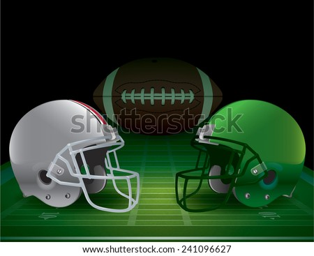 American football field, helmets, and ball. Vector EPS 10. EPS file contains transparencies and gradient mesh. - stock vector