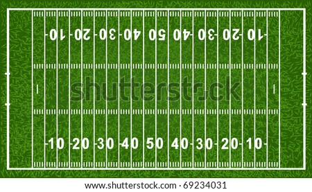 American Football Field, Isolated On White Background, Vector Illustration - stock vector