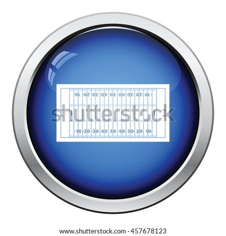 American football field mark icon. Glossy button design. Vector illustration. - stock vector