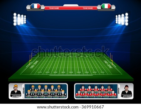 American Football field with set of infographic elements - stock vector