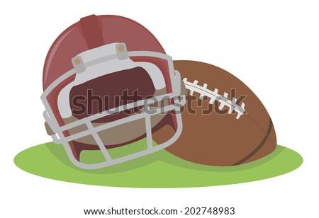 American football. Helmet and ball - stock vector