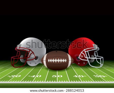 American football helmets and ball sitting on a realistic turf field. Vector EPS 10. EPS file contains transparencies and gradient mesh. - stock vector