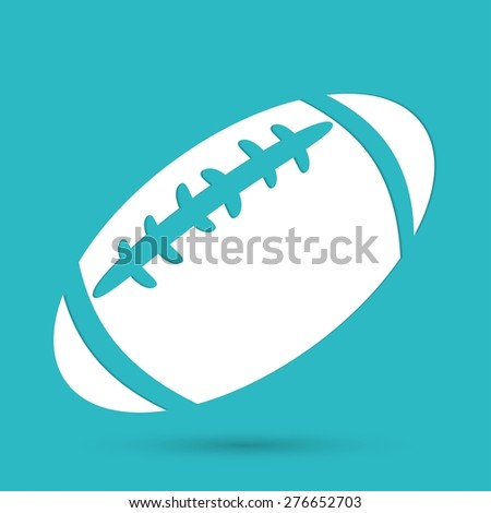 american football icon isolated on blue background - stock vector