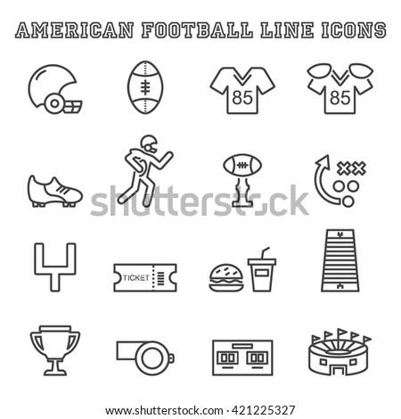 american football line icons, mono vector symbols - stock vector