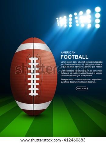 American football on field, vector - stock vector