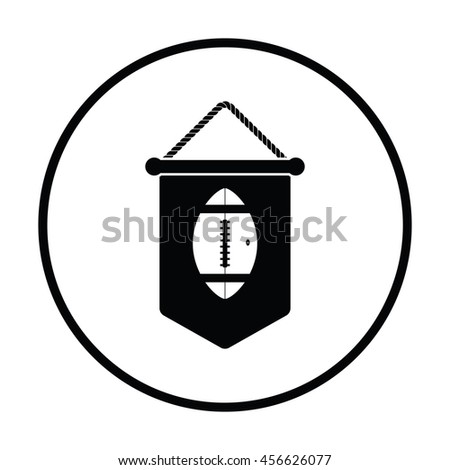 American football pennant icon. Thin circle design. Vector illustration. - stock vector