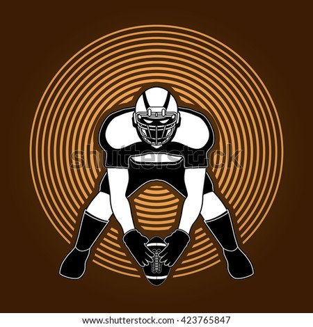 American football player front view designed on circle light background graphic vector - stock vector