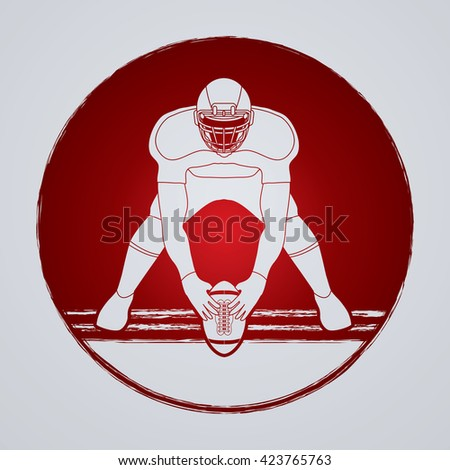 American football player front view designed on grunge circle background graphic vector - stock vector