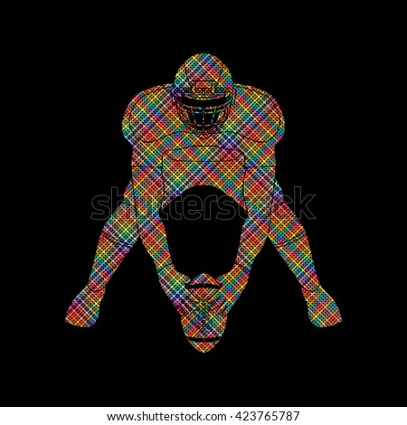 American football player front view designed using colorful pixels graphic vector - stock vector