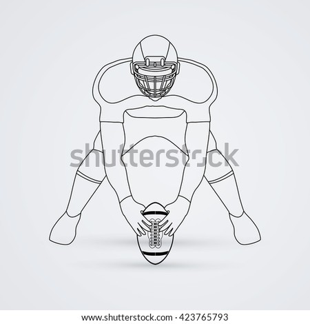 American football player front view outline graphic vector - stock vector