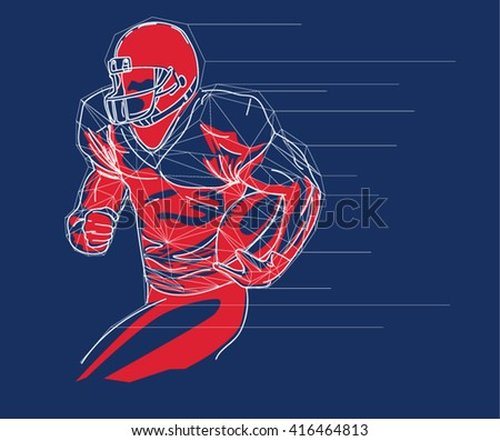 American football player logo, emblem, badge, label and design elements. Illustration - stock vector