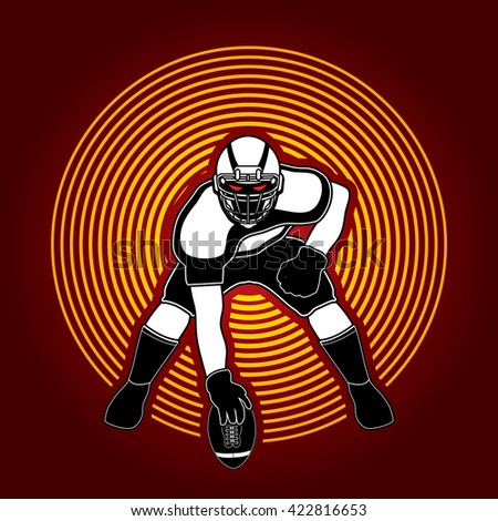 American football player posing designed on circle light background graphic vector - stock vector
