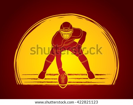 American football player posing designed on moonlight background graphic vector - stock vector