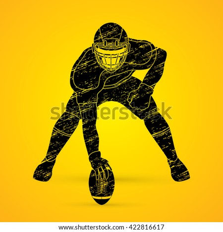 American football player posing designed using grunge brush graphic vector - stock vector