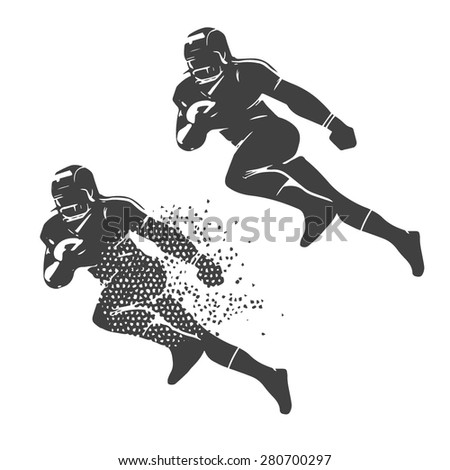 american football player vector illustration silhouette - stock vector