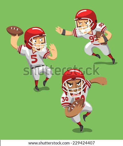 American Football Player with Ball in field, vector illustration cartoon. - stock vector