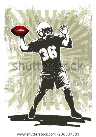 american football player with stencil background - stock vector