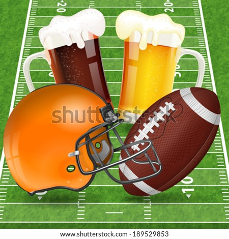 American Football Poster with Helmet, Ball, Field and Glasses of Beer, vector - stock vector