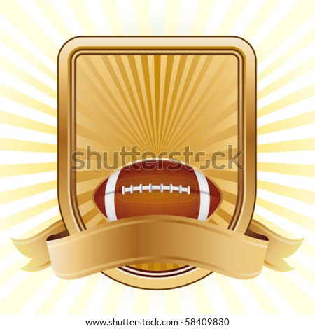 american football,shield,yellow background - stock vector