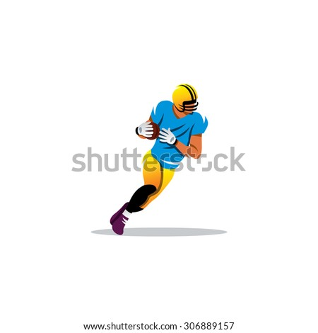 American football sign. A player running with the ball. Vector Illustration. - stock vector
