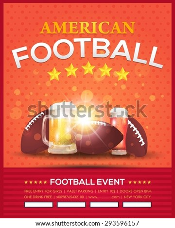 American Football Vector Design, Sport Elements. Poster, Flyer, Cover, Announcement Orange and Red Colors Background - stock vector