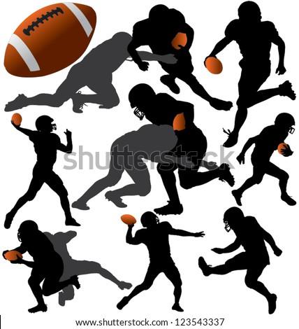 American Football Vector Silhouettes. Layered. Fully Editable. - stock vector