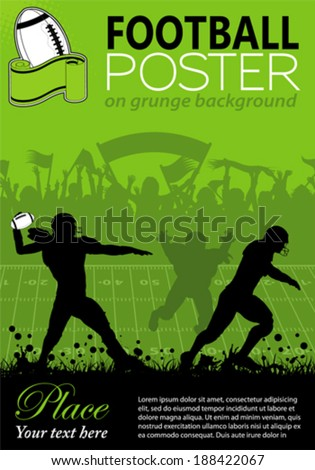 American Football with Players and Fans on grunge background, element for design, vector illustration - stock vector