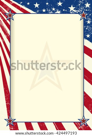 American frame poster. An american flag with a large frame for your message - stock vector