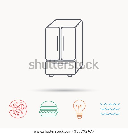 American fridge icon. Refrigerator sign. Global connect network, ocean wave and burger icons. Lightbulb lamp symbol. - stock vector