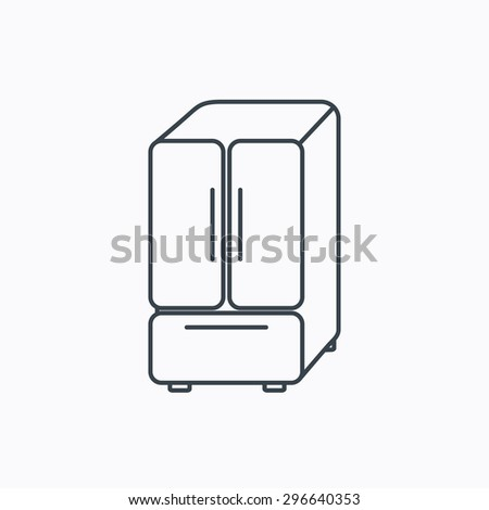 American fridge icon. Refrigerator sign. Linear outline icon on white background. Vector - stock vector