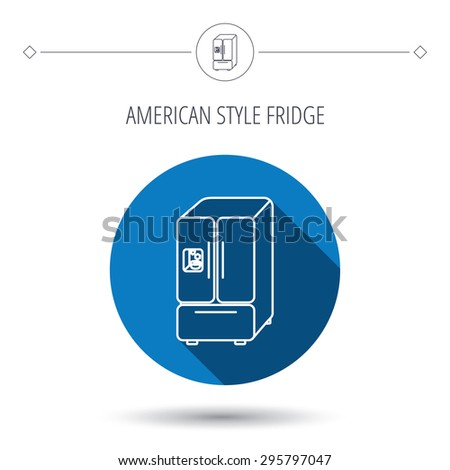 American fridge icon. Refrigerator with ice sign. Blue flat circle button. Linear icon with shadow. Vector - stock vector