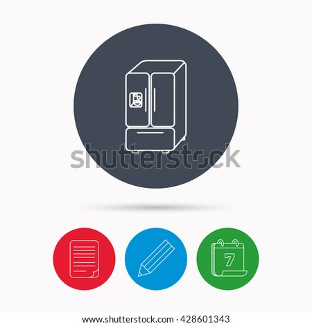 American fridge icon. Refrigerator with ice sign. Calendar, pencil or edit and document file signs. Vector - stock vector
