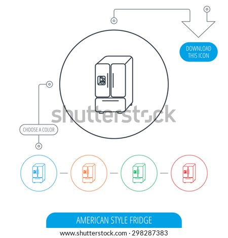 American fridge icon. Refrigerator with ice sign. Line circle buttons. Download arrow symbol. Vector - stock vector