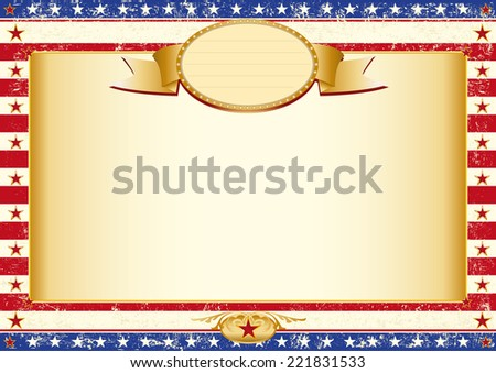 american grunge certificate. American dirty poster with a large empty kraft paper frame for your message - stock vector