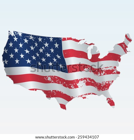 American grunge flag as Usa map - stock vector