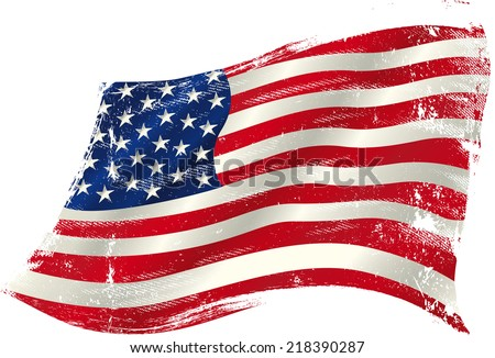 american grunge flag in the win. flag of  USA  in the wind with a texture. - stock vector