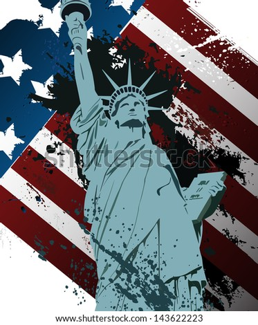 American Grunge Statue of liberty - stock vector