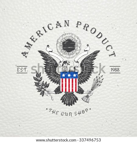 American gun shop. Firearms store. Hunting gun. Detailed elements. Old retro vintage grunge. Scratched, damaged, dirty effect. Typographic labels, stickers, logos and badges. Flat vector illustration - stock vector