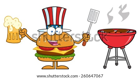 American Hamburger Cartoon Character Holding A Beer And Bbq Slotted Spatula By A Grill. Vector Illustration Isolated On White - stock vector