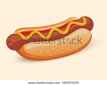 American hotdog sandwich with ketchup and mustard emblem design isolated vector illustration - stock vector