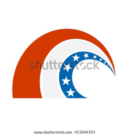 American icon on a white background. The tape of the American flag, isolate. The symbol of America, a curved element with the American flag colors. Stock vector - stock vector