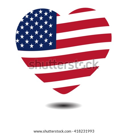 American Independence Day, a big heart, US symbols, vector illustration - stock vector