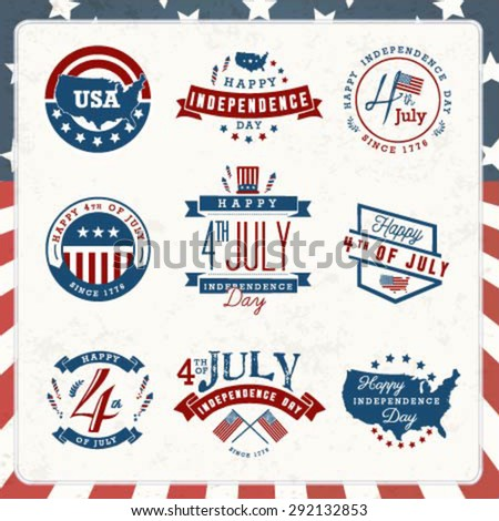 American Independence Day Badges and Labels in Vintage Style - stock vector