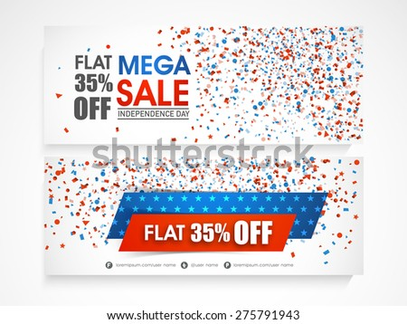 American Independence Day celebration website header or banner set of Mega Sale with 35% discount offer. - stock vector