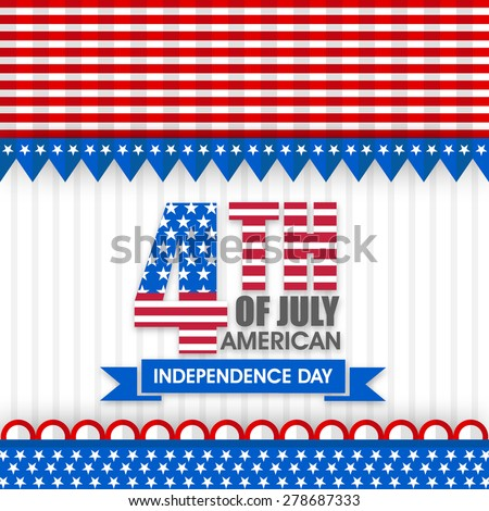 American Independence Day celebration with stylish text 4th of July in national flag colors, can be used as poster, banner or flyer design. - stock vector