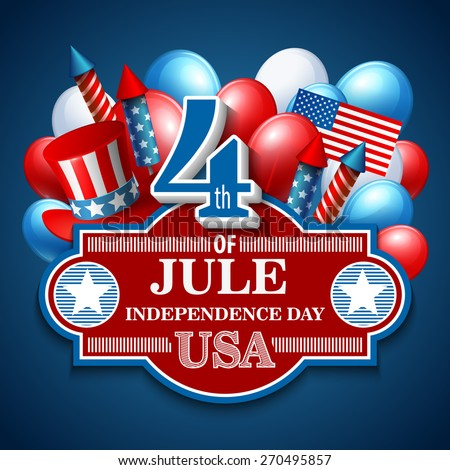 American Independence Day. Festive vector illustration   - stock vector